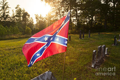 Confederate Flag In An Old Cemetery Art Print by Jonathan Welch