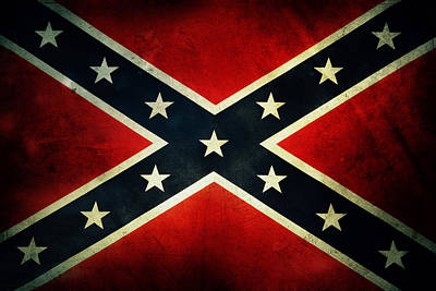 Aged Photograph - Confederate Flag by Les Cunliffe
