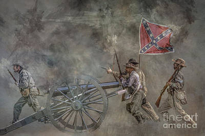 Infantry Digital Art - Confederate Infantry Charge Civil War by Randy Steele