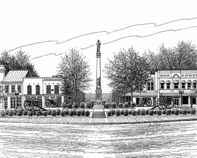 Confederate Monument Drawing - Confederate Monument In Franklin Tn by Janet King