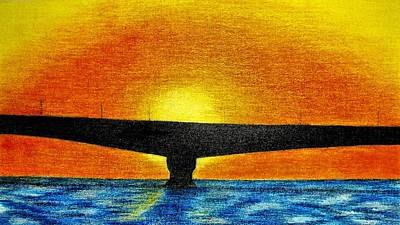 Drawing - Confederation Bridge by Jo Prevost