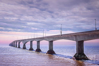 Confederation Bridge Sunset Print by Elena Elisseeva