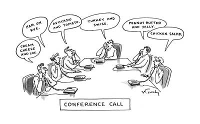 Conference Call Art Print by Mike Twohy