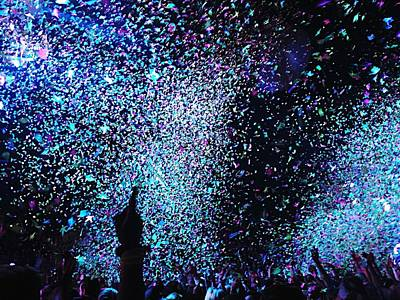 Confetti Falling On Crowd At Concert Art Print by Natalia Martin Rivero / Eyeem