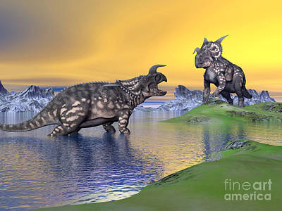 Three Rivers Digital Art - Confrontation Between Two Einiosaurus by Elena Duvernay