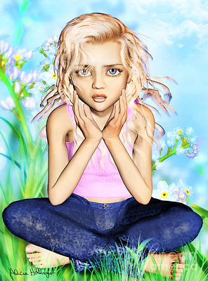 Mixed Media - Confused Little Girl by Alicia Hollinger