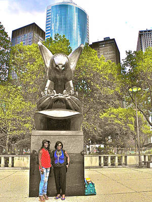 Congolese Women With Attitude In Front Of Ww II Memorial In Battery Park In New York City-ny Original by Ruth Hager