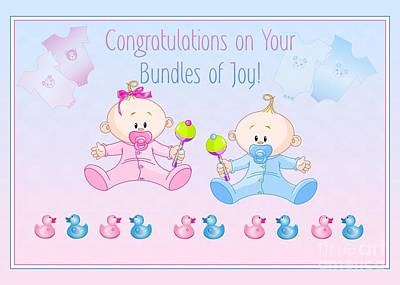 Digital Art - Congrats Bundles Of Joy by JH Designs