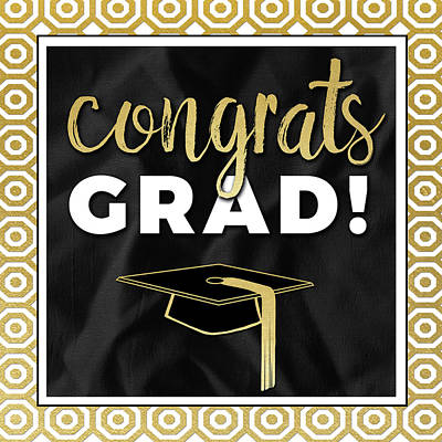 Congrats Grad! In Gold Art Print by Aubree Perrenoud