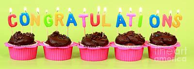 Congratulations Cupcakes Art Print by Pattie Calfy