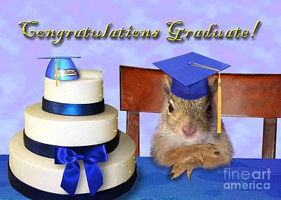 Diploma Digital Art - Congratulations Graduate Squirrel by Jeanette K