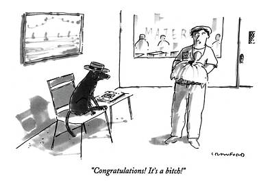 Puppies Drawing - Congratulations!  It's A Bitch! by Michael Crawford