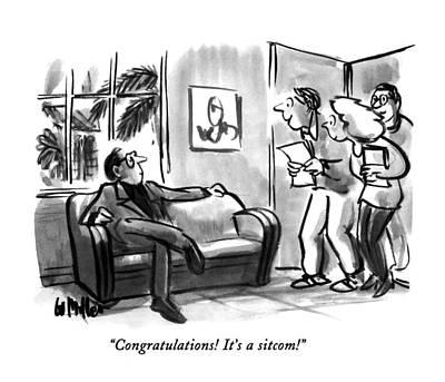 Miller Drawing - Congratulations!  It's A Sitcom! by Warren Miller