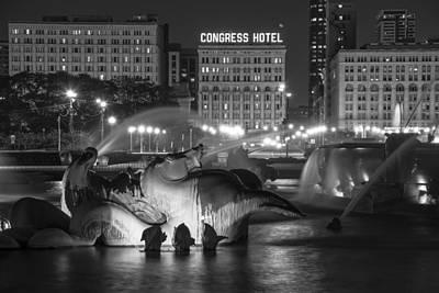 Photograph - Congress Hotel And Buckingham Fountain by John McGraw