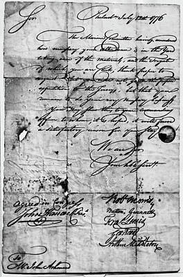 Autographed Painting - Congressional Document, 1776 by Granger