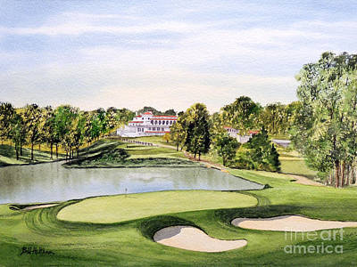 Ernie Els Wall Art - Painting - Congressional Golf Course 10th Hole by Bill Holkham
