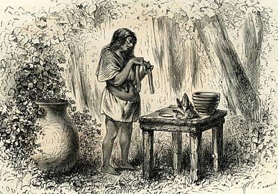 Ceramics Drawing - Conibo Woman 1869 Peru by Peruvian School
