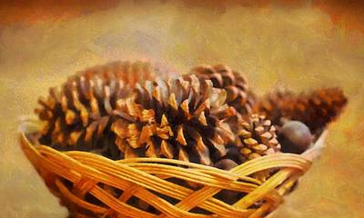 Weaving Painting - Conifer Cone Basket by Dan Sproul