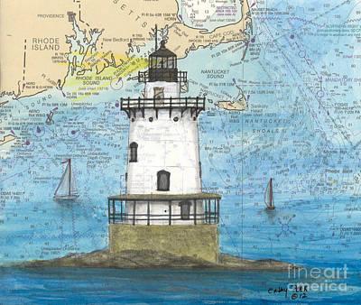 New England Lighthouse Painting - Conimicut Lighthouse Ri Nautical Chart Map Art by Cathy Peek