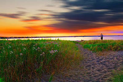 Pastel Sunset Photograph - Conimicut Point Beach Rhode Island by Lourry Legarde
