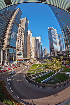 Photograph - Connaught Road Central Hong Kong And Old Building On Left Catholic Center by Marek Poplawski