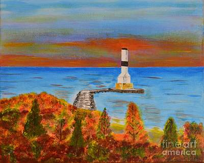 Art Print featuring the painting Fall, Conneaut Ohio Light House by Melvin Turner