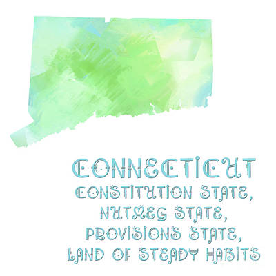 Connecticut - Constitution State - Nutmeg State - Provisions State - Map - State Phrase - Geology Art Print by Andee Design