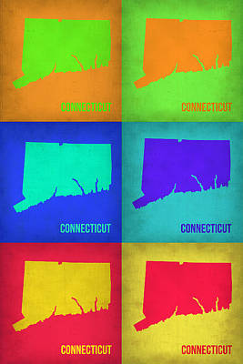 Pop Art Painting - Connecticut Pop Art Map 1 by Naxart Studio