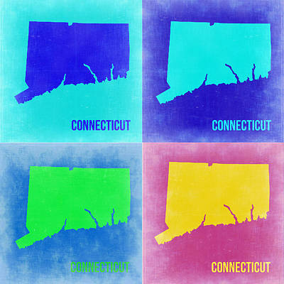 Connecticut Painting - Connecticut Pop Art Map 2 by Naxart Studio