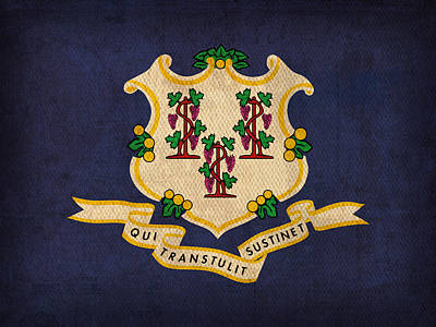 Mixed Media - Connecticut State Flag Art On Worn Canvas by Design Turnpike