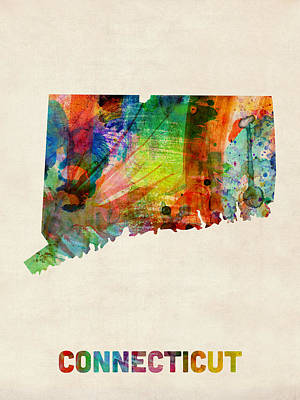 Connecticut Watercolor Map Art Print by Michael Tompsett