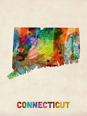 Digital Art - Connecticut Watercolor Map by Michael Tompsett