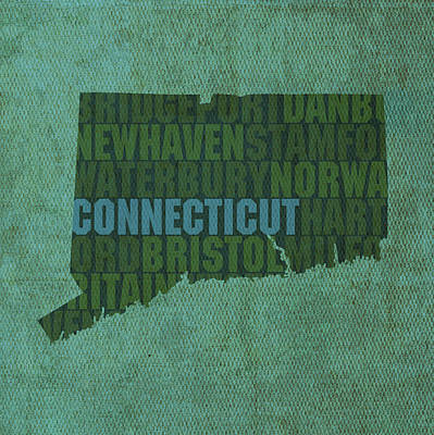 Word Art Mixed Media - Connecticut Word Art State Map On Canvas by Design Turnpike
