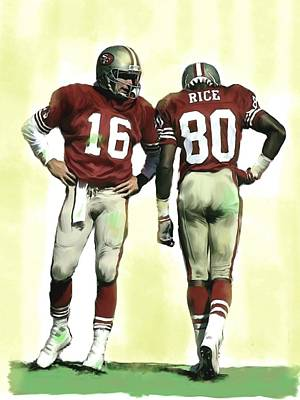 Painting - The Connection II Joe Montana And Jerry Rice  by Iconic Images Art Gallery David Pucciarelli