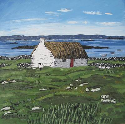 Seacape Painting - Connemara Thatched Cottage With Sheep Ireland by Diana Shephard