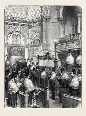 Synagogue Drawing - Consecration Of The New Central Synagogue In Great Portland by English School