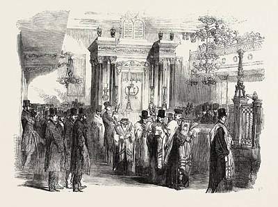 Synagogue Drawing - Consecration Of The Western Synagogue by English School