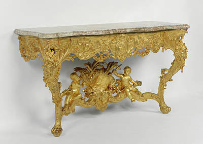 Marble Console Table Drawing - Console Table Attributed To Joseph Effner, German, 1687 - by Litz Collection