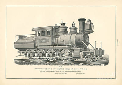 Philadelphia Drawing - Consolidation Locomotive With Wootten's Fire Box Fig. 70 by MMG Archive Prints