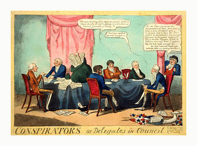 Reynolds Drawing - Conspirators Or, Delegates In Council, Cruikshank, George by Litz Collection
