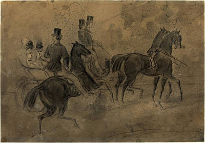 Constantin Guys, French 1805-1892, An Open Carriage Art Print by Litz Collection