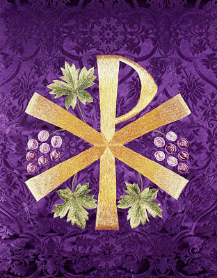 Grape Leaf Photograph - Constantines Cross Chi Rho Embroidered by Vintage Images