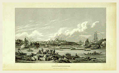 Constantinople Drawing - Constantinople, Istanbul, 19th Century Engraving by Litz Collection