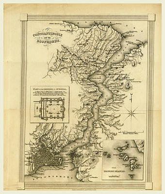 Empire State Drawing - Constantinople, Istanbul Bosphorus, Map, The Present State by Litz Collection