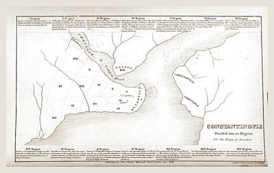 Constantinople Drawing - Constantinople, Istanbul, Map by Litz Collection