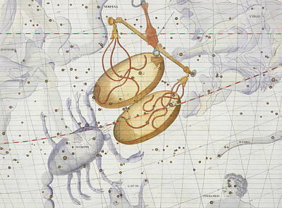 Crabs Drawing - Constellation Of Libra by Sir James Thornhill