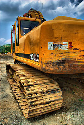 Construction Excavator In Hdr 1 Art Print by Amy Cicconi