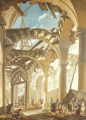 Halle Photograph - Construction Of A Wheat Market, 1765 Oil On Canvas by Pierre-Antoine Demachy