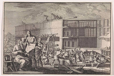 Noahs Ark Drawing - Construction Of Noahs Ark, Jan Luyken, Pieter Mortier by Jan Luyken And Pieter Mortier