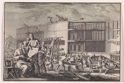 Construction Of Noahs Ark, Jan Luyken, Pieter Mortier Art Print by Jan Luyken And Pieter Mortier